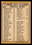 1968 Topps #6  AL HR Leaders  -  Frank Howard / Harmon Killebrew / Carl Yastrzemski Back Thumbnail