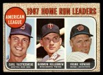 1968 Topps #6  AL HR Leaders  -  Frank Howard / Harmon Killebrew / Carl Yastrzemski Front Thumbnail