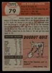 1953 Topps #79   John Wyrostek Back Thumbnail