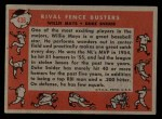 1958 Topps #436  Rival Fence Busters  -  Duke Snider / Willie Mays Back Thumbnail