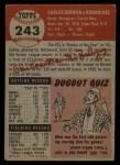 1953 Topps #243   Carlos Bernier Back Thumbnail