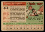 1955 Topps #116   Tom Hurd Back Thumbnail