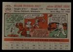 1956 Topps #152  Billy Hoeft  Back Thumbnail