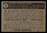 1952 Topps #76 BLK Eddie Stanky  Back Thumbnail