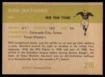 1961 Fleer #215  Don Maynard  Back Thumbnail