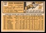 1963 Topps #487  John Roseboro  Back Thumbnail