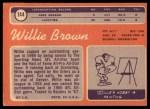 1970 Topps #144   Willie Brown Back Thumbnail