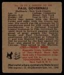 1948 Bowman #28   Paul Governali Back Thumbnail