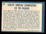 1961 Topps #57  1960 Football Highlights  -  Johnny Unitas Back Thumbnail