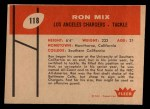 1960 Fleer #118  Ron Mix  Back Thumbnail