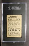 1952 Bowman #101   Mickey Mantle Back Thumbnail