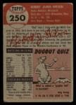 1953 Topps #250   Bob Wilson Back Thumbnail
