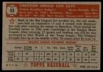 1952 Topps #53 RED  Chris Van Cuyk Back Thumbnail