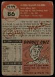 1953 Topps #86   Billy Martin Back Thumbnail