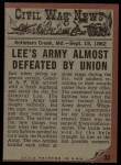 1962 Topps Civil War News #32  Death Struggle  Back Thumbnail