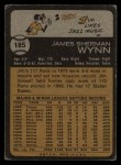 1973 Topps #185   Jim Wynn Back Thumbnail