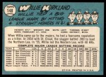 1965 Topps #148   Willie Kirkland Back Thumbnail