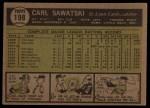 1961 Topps #198   Carl Sawatski Back Thumbnail