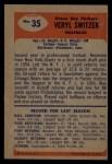 1955 Bowman #35  Veryl Switzer  Back Thumbnail