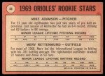 1969 Topps #66  Orioles Rookies  -  Mike Adamson / Merv Rettenmund Back Thumbnail
