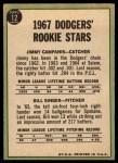1967 Topps #12   -  Jim Campanis / Bill Singer Dodgers Rookies Back Thumbnail