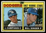 1967 Topps #12   -  Jim Campanis / Bill Singer Dodgers Rookies Front Thumbnail