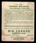 1933 Goudey #183   Rube Walberg Back Thumbnail