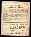 1933 Goudey #9  Dave Harris  Back Thumbnail