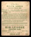 1933 Goudey #33   Ralph Kress Back Thumbnail