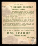 1933 Goudey #4   Heinie Schuble Back Thumbnail