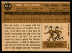 1960 Topps #414  Don Williams  Back Thumbnail