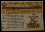 1960 #548  Don Mincher  Back Thumbnail