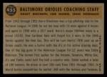 1960 Topps #455  Orioles Coaches  -  Eddie Robinson / Harry Brecheen / Luman Harris Back Thumbnail