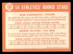 1964 Topps #388  Athletics Rookies  -  George Williams / John O'Donghue Back Thumbnail