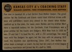 1960 Topps #462  A's Coaches  -  Fred Fitzsimmons / Don Heffner / Walker Cooper Back Thumbnail
