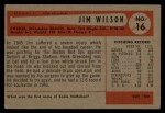 1954 Bowman #16   Jimmy Wilson Back Thumbnail
