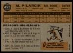 1960 Topps #498   Al Pilarcik Back Thumbnail