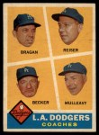 1960 Topps #463  Dodgers Coaches  -  Bobby Bragan / Pete Reiser / Joe Becker / Greg Mulleavy Front Thumbnail