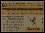 1960 Topps #496  Bill Virdon  Back Thumbnail
