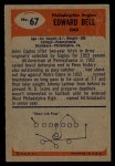 1955 Bowman #67   Edward Bell Back Thumbnail