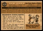 1960 Topps #410   Sam Jones Back Thumbnail