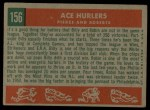 1959 Topps #156   -  Billy Pierce / Robin Roberts Ace Hurlers Back Thumbnail