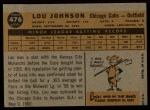 1960 Topps #476  Lou Johnson  Back Thumbnail