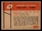 1960 Fleer #73   Abner Haynes Back Thumbnail
