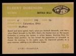 1961 Fleer #136   Elbert Dubenion Back Thumbnail