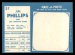 1961 Topps #51  Jim Phillips  Back Thumbnail