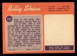 1970 Topps #229   Billy Shaw Back Thumbnail