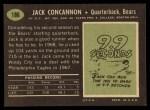 1969 Topps #186   Jack Concannon Back Thumbnail