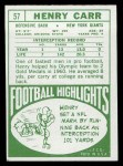 1968 Topps #57  Henry Carr  Back Thumbnail