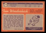 1970 Topps #210  Tom Woodeshick  Back Thumbnail